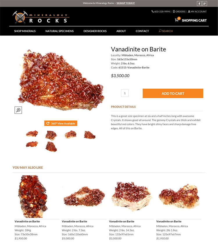 Product - Mineralogy Rocks 360 Degree Product Views